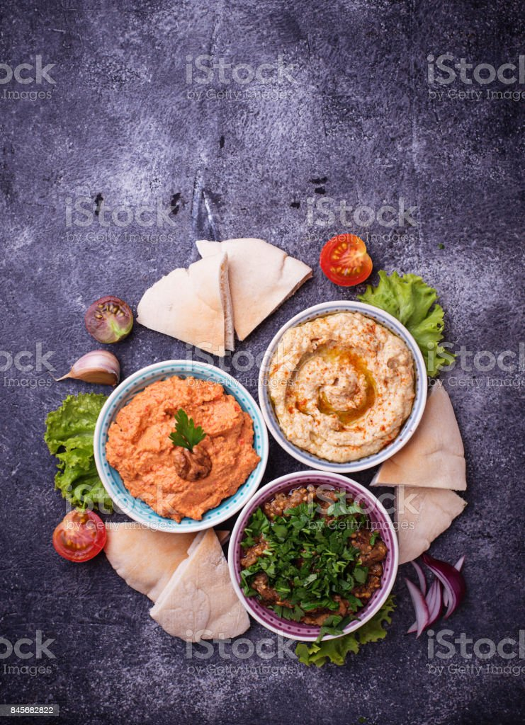 Selection of Middle Eastern or Arabic appetizers stock photo