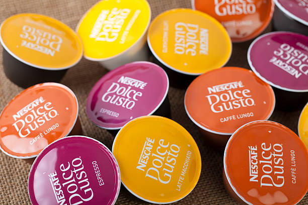 Selection of Nescafe Dolce Gusto coffe capsules stock photo