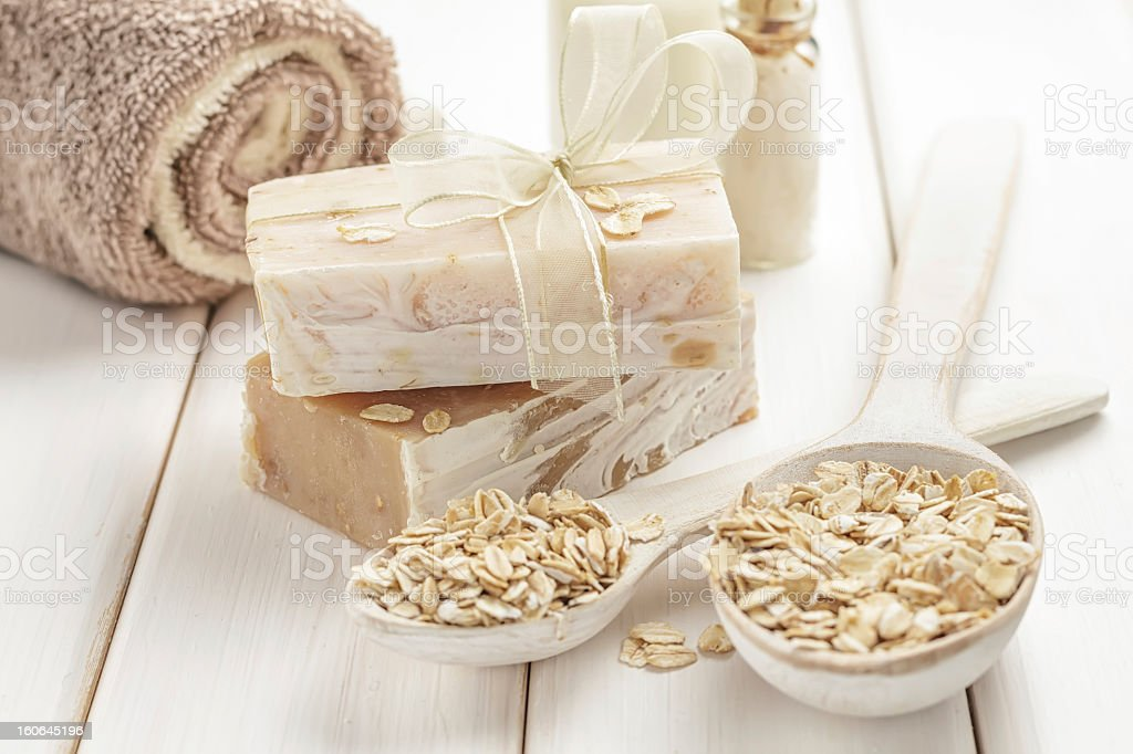 Selection of oatmeal colored items and cereal stock photo