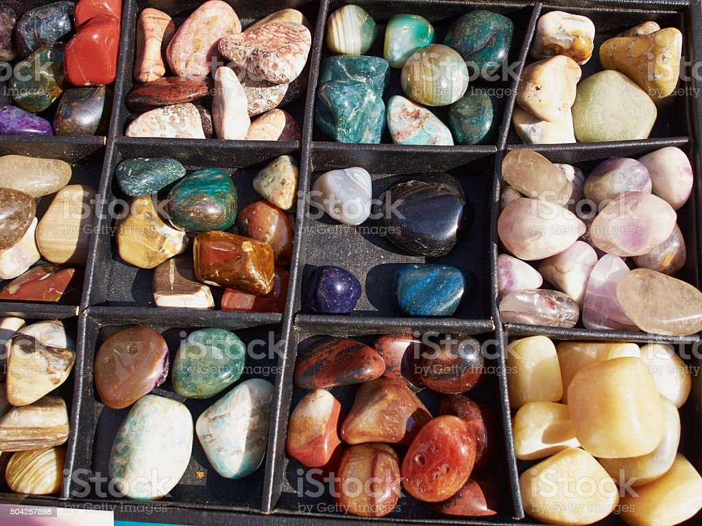 Selection of of semiprecious gemstones stock photo