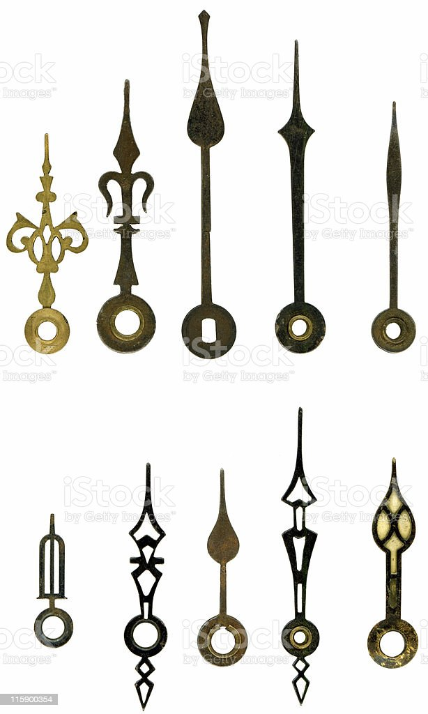 selection of old clock hands to match blank face series royalty-free stock photo