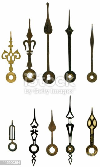 A selection of old clock hands, part of a series of old european clock faces and hands to make your own clock and time settings.