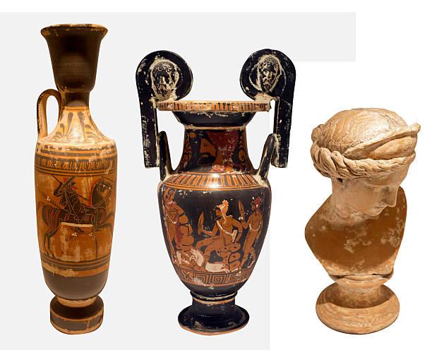 selection of old greek pottery on whitye backgrpound stock photo