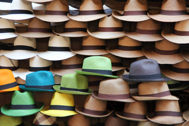 A selection of Panama hats, Cartagena, Colombia, Latin America. stock photo