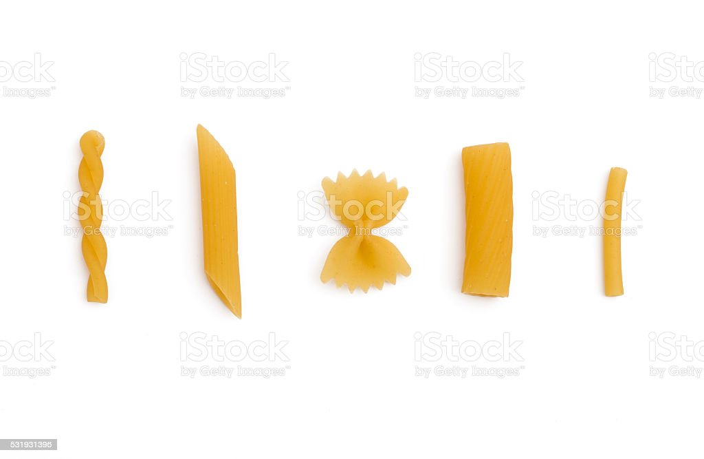 selection of pasta uncooked stock photo