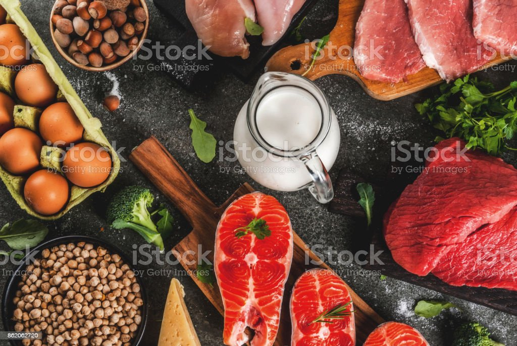 Selection of protein sources food stock photo