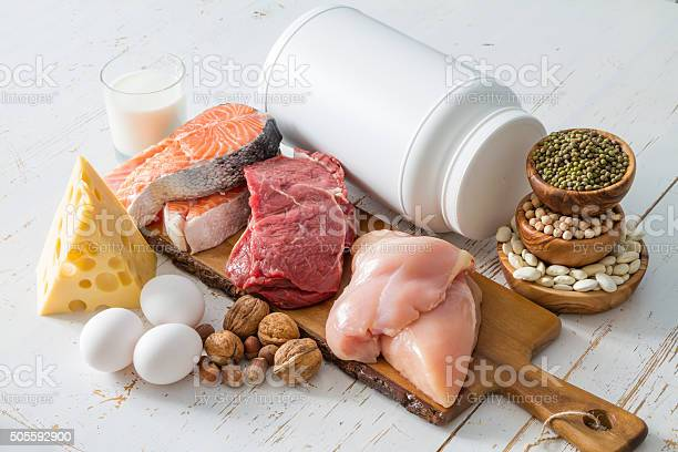 Selection Of Protein Sources In Kitchen Background Stock Photo - Download Image Now