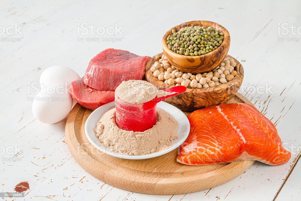 Selection of protein sourses stock photo
