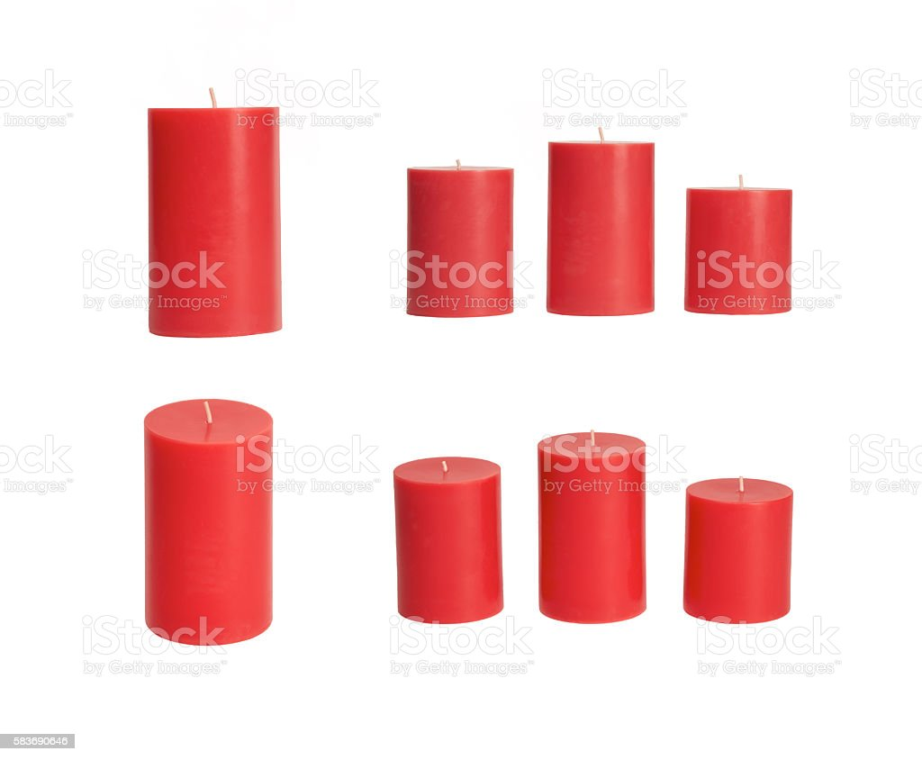Selection of red candles stock photo
