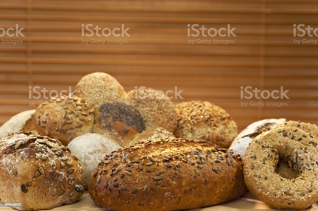 Selection Of Rustic Wholemeal and Seeded Handmade Bread Loaves royalty-free stock photo