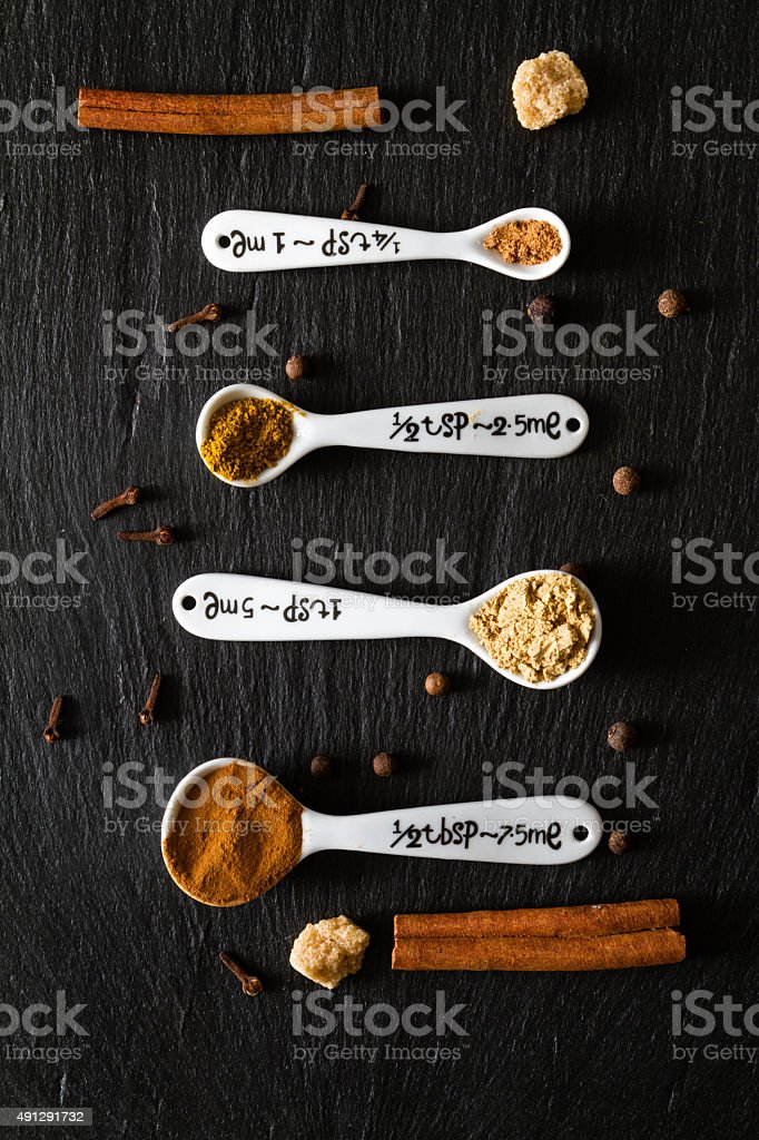 Selection of spices for christmas and thanksgiving stock photo