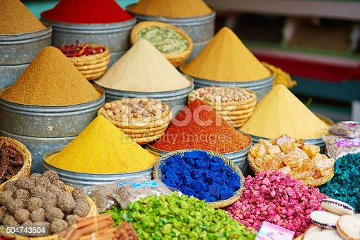 istock Selection of spices on a Moroccan market 504743504
