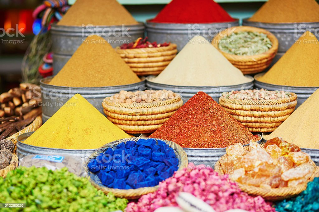 Selection of spices on a traditional Moroccan market stock photo