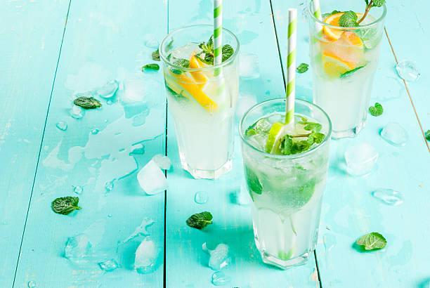 selection of summer refreshing cocktails - heiße zitrone stock-fotos und bilder