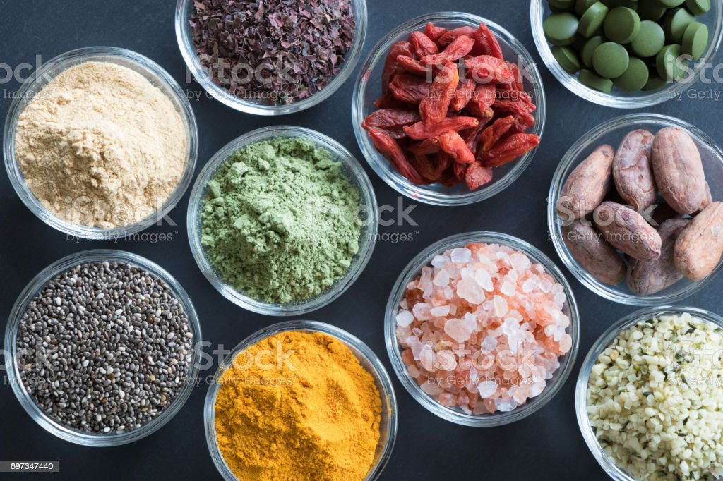 Selection of superfoods stock photo