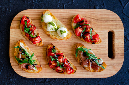 Selection of tasty bruschetta