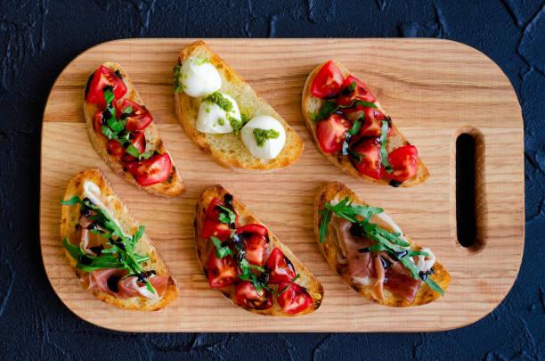 Selection of tasty bruschetta - foto stock