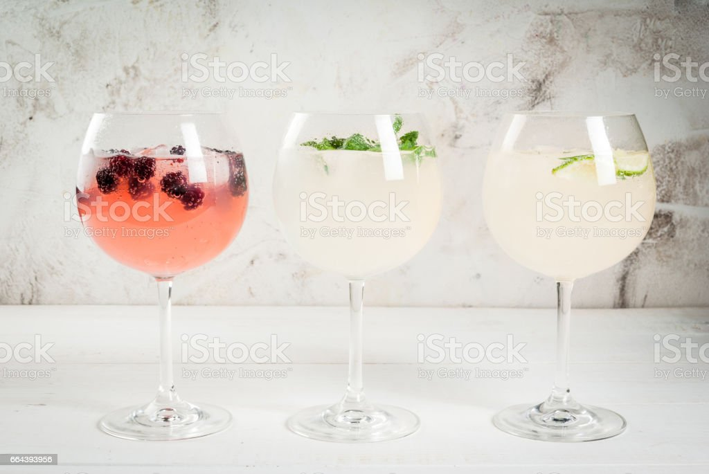 Selection of three kinds of gin tonic stock photo