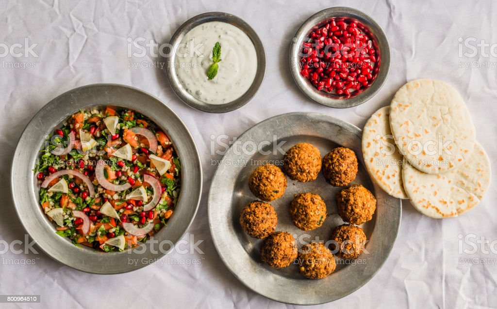 Selection of traditional Arab and Jewish food, selective focus. Healthy food, fitness, and sport diet concept. stock photo