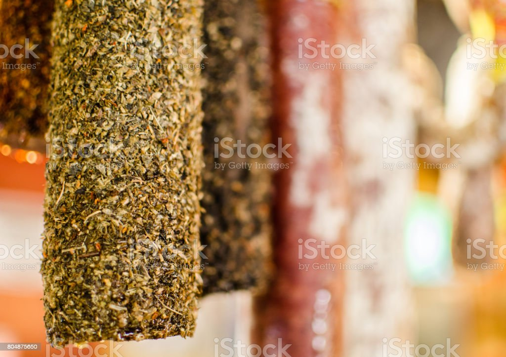 Selection of traditional Italian cured meats and sausages, selective focus stock photo