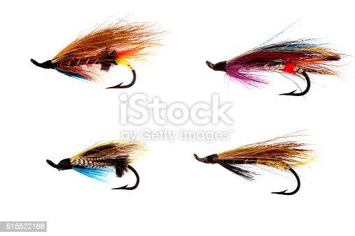 istock Selection of Traditional Salmon Fishing Flies on White 515522168