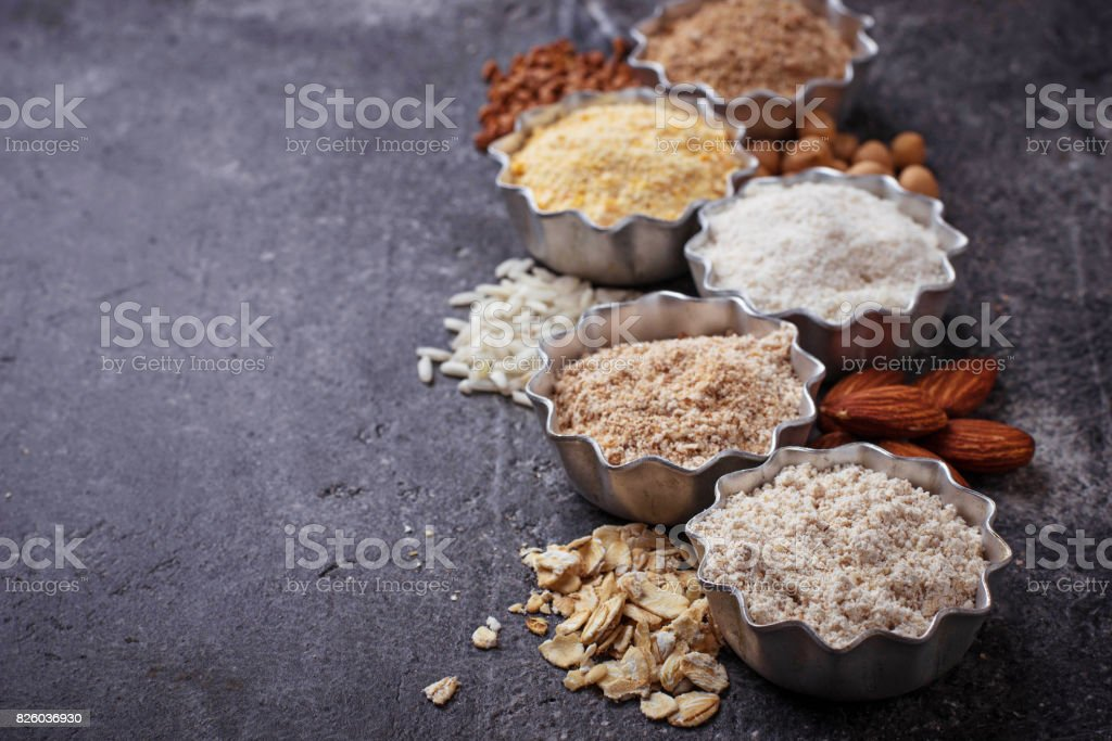 Selection of various gluten free flour stock photo