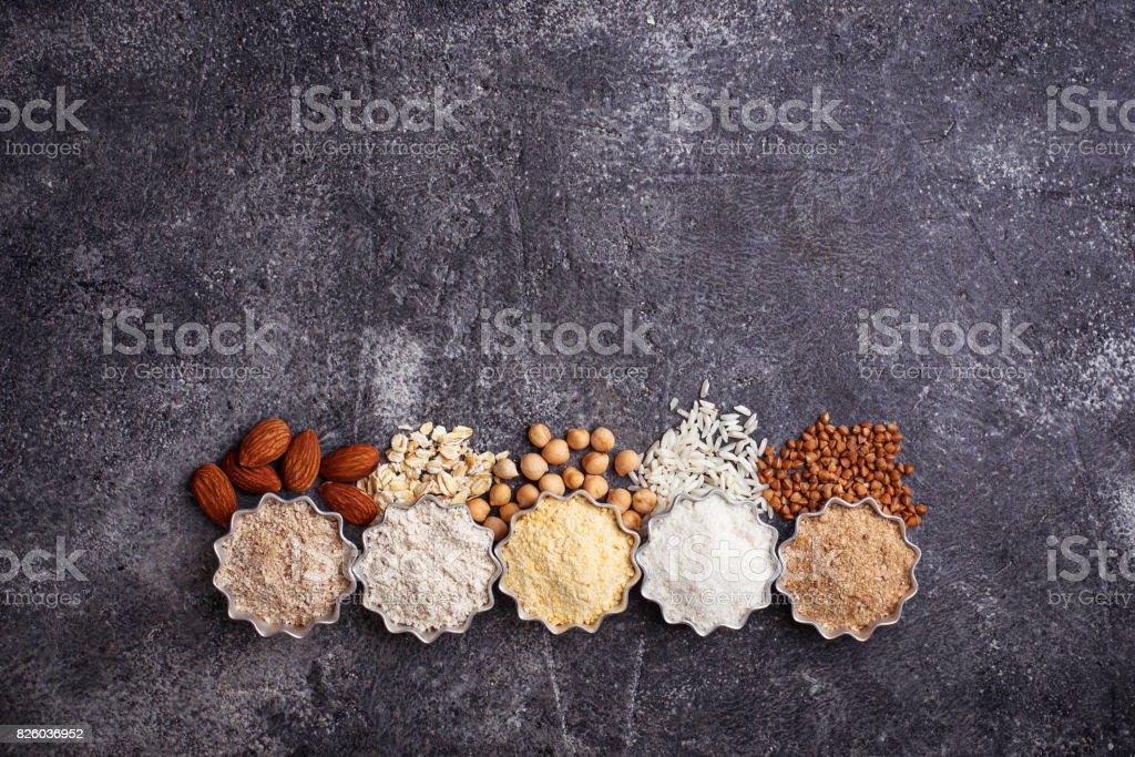 Selection of various gluten free flour stock photo