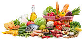Balanced diet food background. Selection of various paleo diet products for healthy nutrition