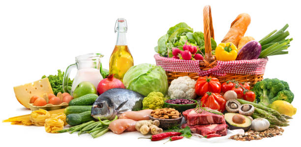 Selection of various paleo diet products for healthy nutrition stock photo