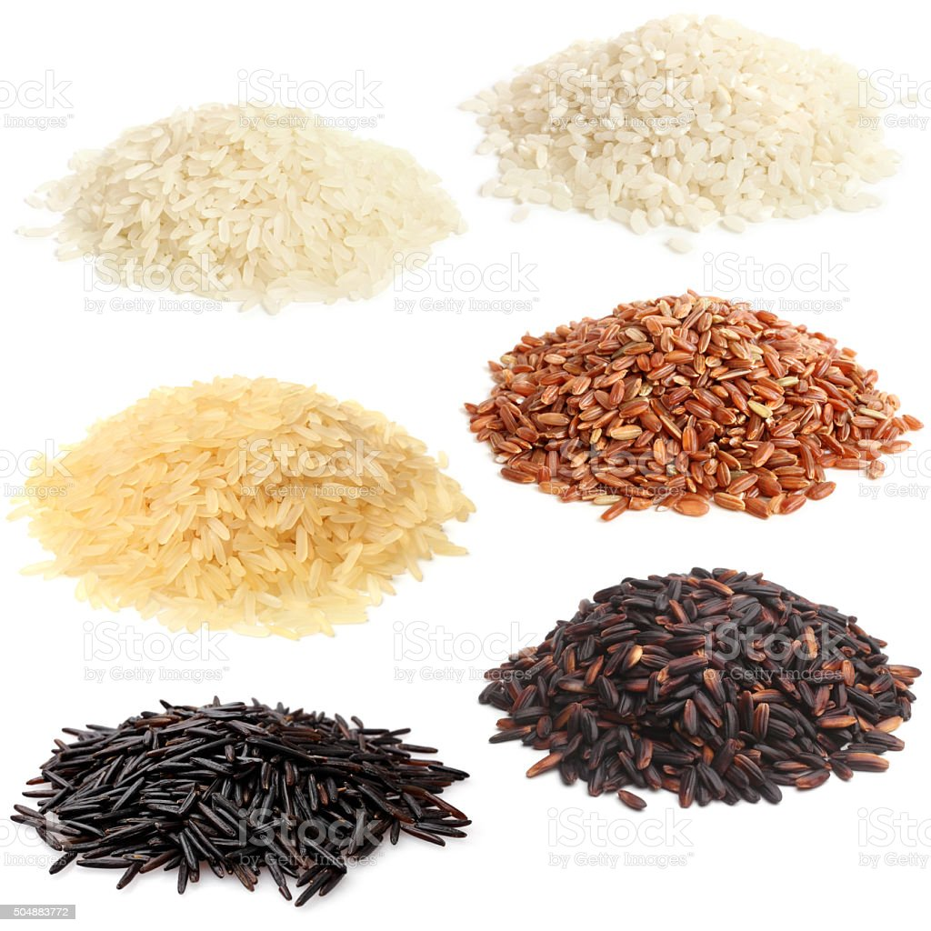 Selection of various rice stock photo