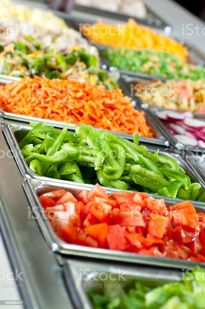 Selection of vegetables and a salad bar stock photo