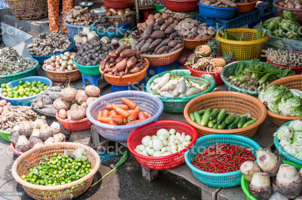 Selection Of Vegetables At A Street Market In HCMC, Vietnam stock photo