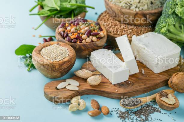 Selection Of Vegetarian Protein Sources Healthy Diet Concent Stock Photo - Download Image Now