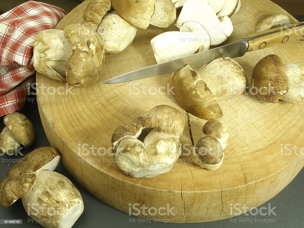Selection of wild mushrooms on a round cutting board royalty-free stock photo