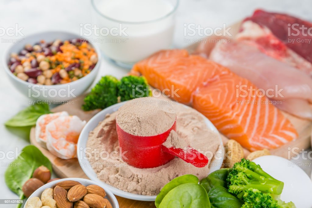 Selection on vegetarian and animal origin protein sources stock photo