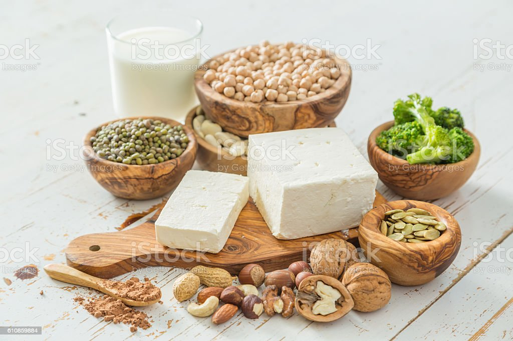 Selection vegan protein sources on wood background - Royalty-free Achtergrond - Thema Stockfoto