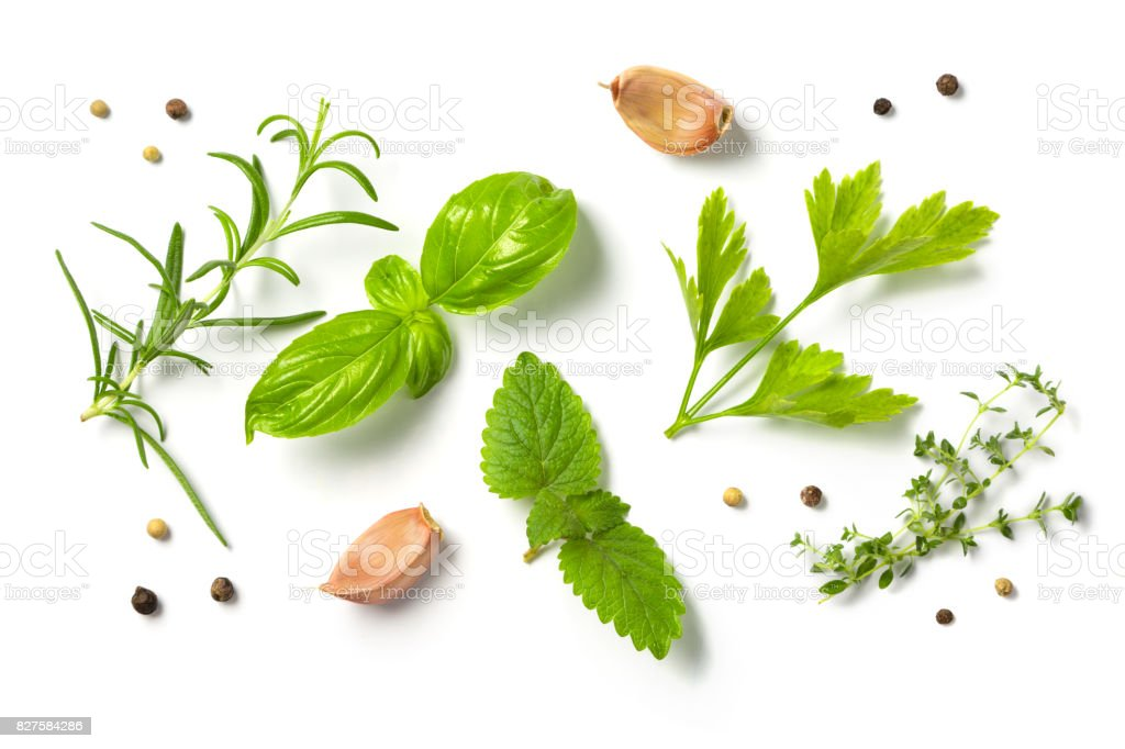 Selectionof herbs and spices, isolated stock photo
