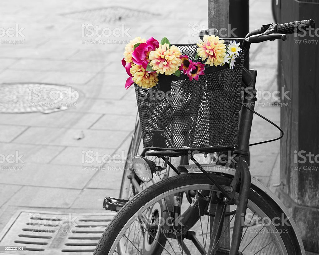 selective desaturation of an old bicycle with flowers stock photo