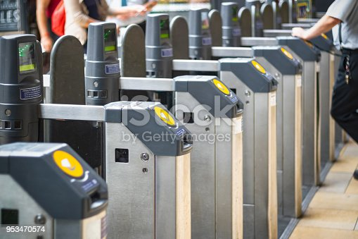 Selective focus, automatic ticket barriers at London Paddington rail station
