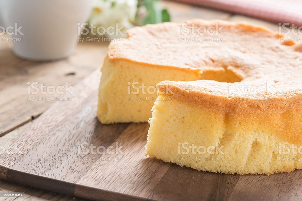 Selective focus, Chiffon cake on wood cutting board. stock photo