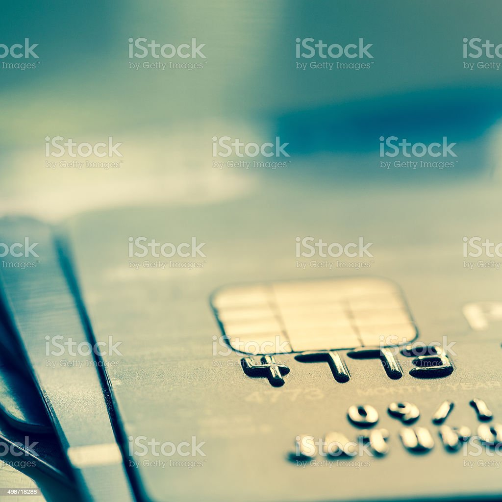 Selective Focus : Close Up Macro Shot With Credit Card stock photo