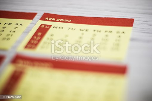 1162245415 istock photo Selective Focus Close-Up April 2020 Calendar Page On The Table 1220282982