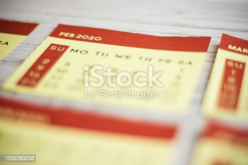 1162245415 istock photo Selective Focus Close-Up February 2020 Calendar Page On The Table 1220283203