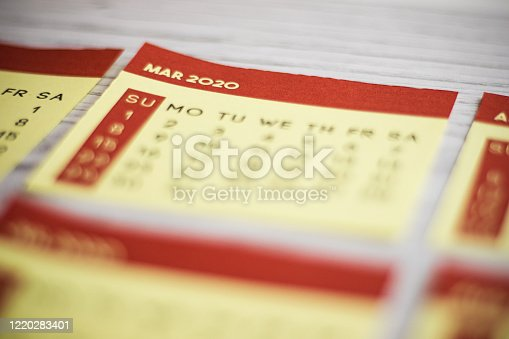 1162245415 istock photo Selective Focus Close-Up March 2020 Calendar Page On The Table 1220283401