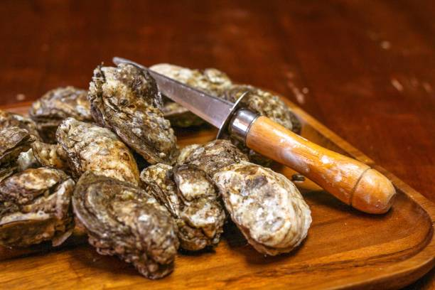 selective focus closeup of a mess of rappahannock river oysters on a wooden platter - oyster stock pictures, royalty-free photos & images