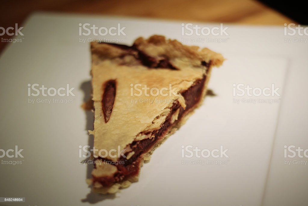 Selective Focus Fruit Pie on White Plate stock photo