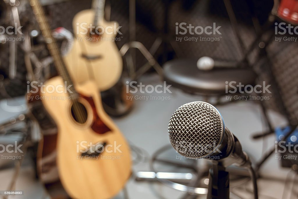 selective focus microphone and blur musical equipment. stock photo