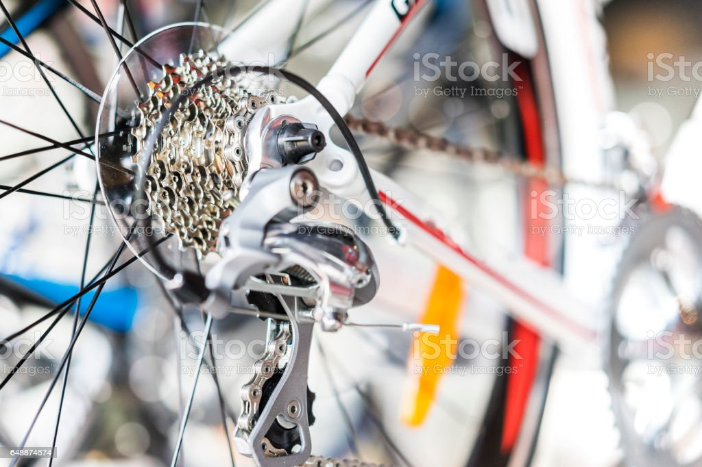 Selective focus of bicycle gear stock photo