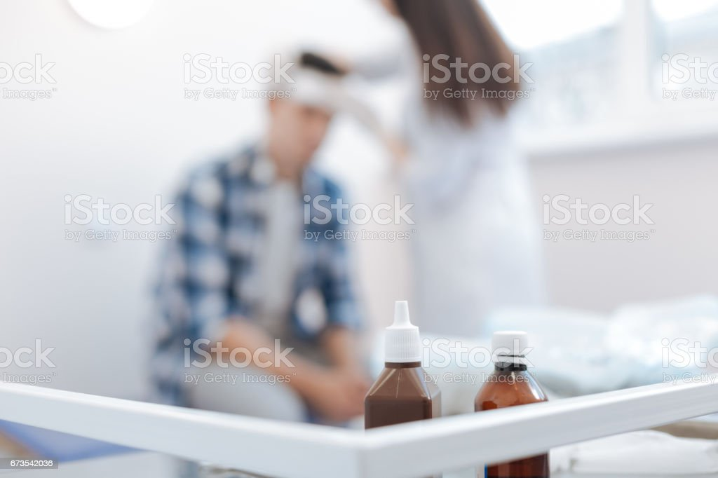 Selective focus of bottles with medicine stock photo