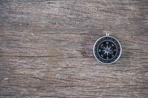 selective focus of compass wooden table,abstract background to travel concept stock photo